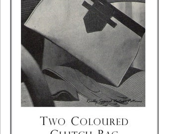 1945 Two Colour Clutch Purse Bag Pattern  Vintage Handbag Sewing Pattern Instructions PDF