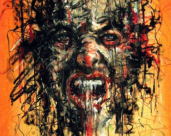 """Print 8x10"""" - Failure 3 - The Hopeless Machine - Surreal Abstract Blood Lowbrow Expressionism Portrait Dark Art Horror Gothic Monster"""