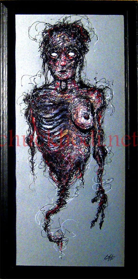 Body Bag - Original Drawing - Dark Art Horror Corpse Zombie Alien Monster Creature Blood Macabre Gothic Fantasy Science Fiction Pop Medical