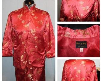 1960's Asian Silk Brocade Cigarette Pants/Jacket Hostess Set - M