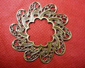 12pc antique bronze metal filigree nickle free center piece/wraps-2888Ax2