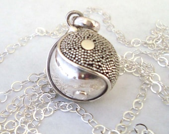 """16mm Mexican Bola Sterling Silver Maternity Pregnancy Harmony ball Chime Necklace 36"""" chain CN6"""