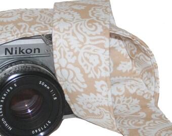 Camera Strap - Classic Caramel Damask - SLR, DSLR