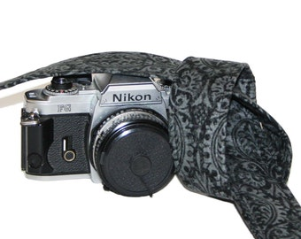 Designer Steel Grey, Damask - custom camera strap made for SLR or DSLR camera by Howard Avenue