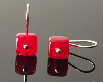 Tiny Glass Square Earrings in Red