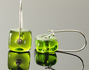 Square Latch Earrings in Green - Ready to ship