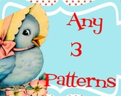 PICK 3 Patterns Any 3 PDF Patterns For One Low Price Matryoshka Doll Owl Dress Skirt Peasant Top.