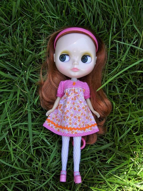 Smock Dress for Blythe - Pink and Orange Flowers