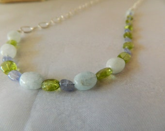 Long Aquamarine, Peridot, and Tanzanite Necklace