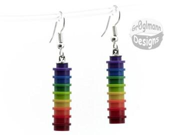 Rainbow Dangle Earrings - made with LEGO bricks