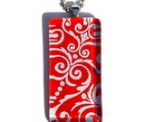 red and silver necklace pendant - glass and Japanese chiyogami pendant necklace - red and silver damask