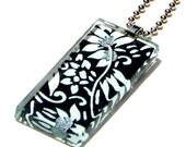 black and white pendant necklace - glass and Japanese chiyogami necklace pendant