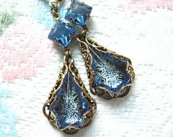 Misty Blue Sapphire - Filigree Wrapped Vintage Glass Jewel Earrings