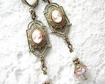 Victorian Style Cameo Earrings - White on Angelskin Background