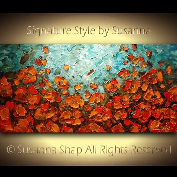ORIGINAL Turquoise Blue and Orange Poppy Flowers Landscape Oil Painting, Canvas Wall decor Palette Knife Impasto Art by Susanna 48x24 M2O