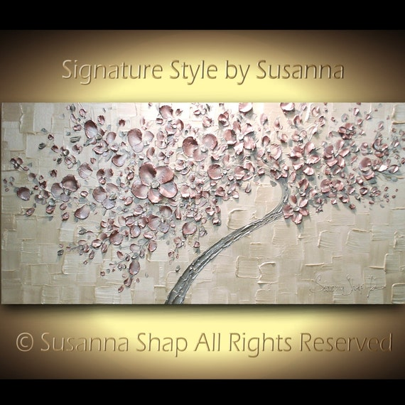 Pink Cherry Blossom Tree Original Abstract Painting Acrylic Contemporary Art White Blush Pink by Susanna 48x24 Made2Order