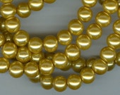 8mm Golden Glass Pearl Round Beads