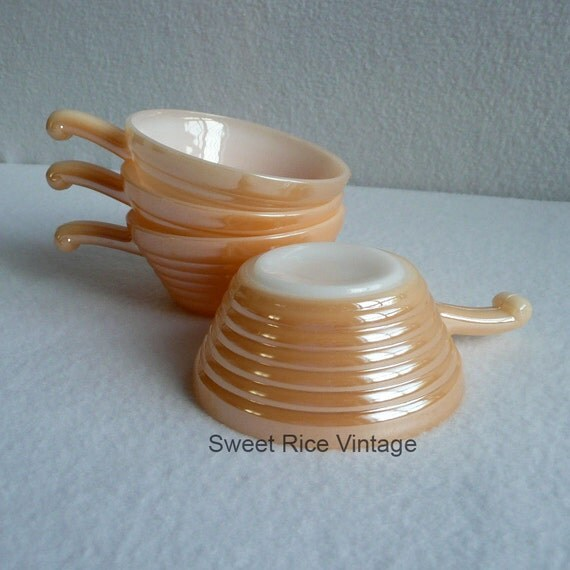 Four Fire King French Lug Handled Bowls Peach Luster