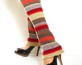 Leg Warmers Upcycled Sweater LegWarmers Tan Red Orange Fall Colors
