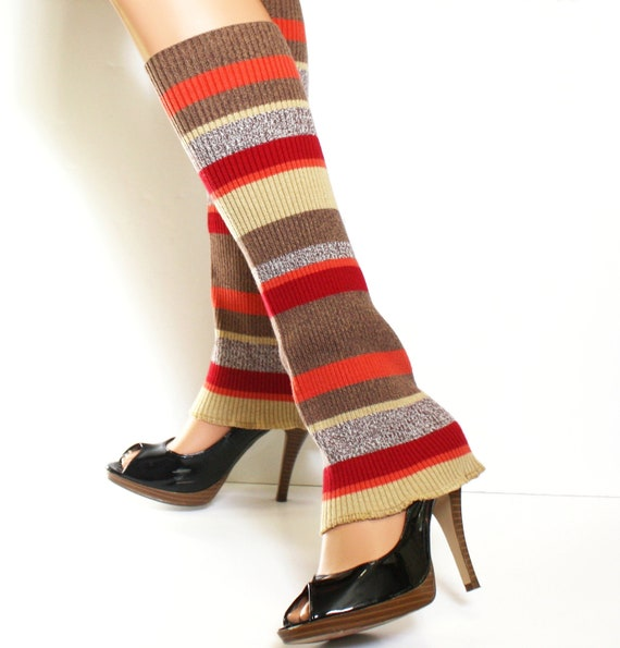 Leg Warmers Upcycled Sweater LegWarmers Tan Red Orange Fall Colors