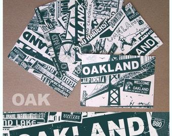 Oakland California 5 Postcard Mini Print Set City Silk Screen Collage Raiders Athletics - Etsy