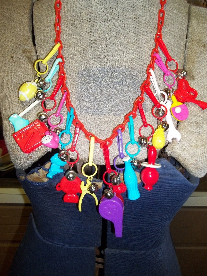 Vintage Retro 1980's Plastic Charm Necklace Loaded With 15
