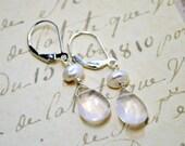 Pale Rose Smooth Gemstone Earrings, Keishi Freshwater Pearls, Sterling Silver, Elegant Dangle Tear Drops Earrings, Fashion Earrings, Bridal