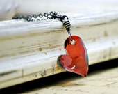 Red Heart Charm Necklace, Oxidized Sterling Silver Necklace, Valentine Necklace, Devoted 2 U Swarovski Crystals, Heart Jewelry, Long, Layer