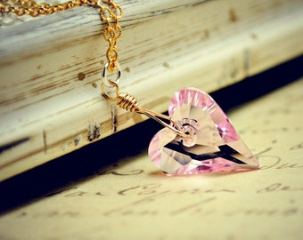Pink Crystal Heart Necklace, Rosaline Swarovski Wild Heart Pendant, Heart Necklace, Valentine Heart Charm Necklace, Gold Chain Necklace