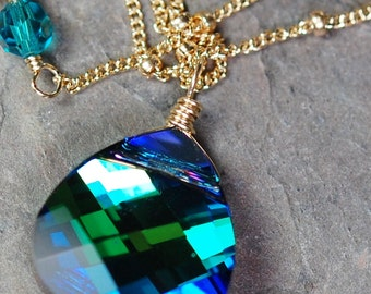 Peacock Necklace, Swarovski Crystal, Blue Green, 14K Gold Filled Wire Wrapped Briolette, Aqua Sphinx, Bridesmaid