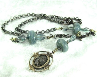 Twisted Blue,  Steampunk Lampwork Necklace, Borosilicate Steampunk Necklace,Lampwork Beads, Blue Steampunk, One of a Kind