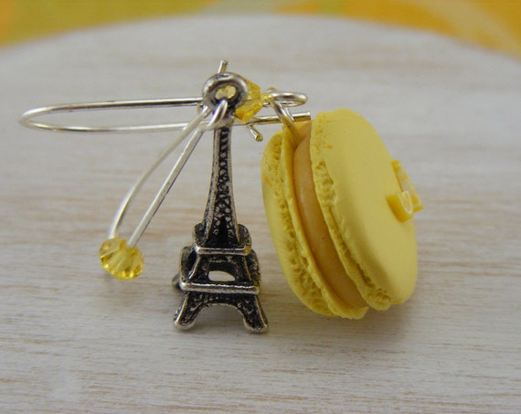 Lemon Parisian Macaron Earrings