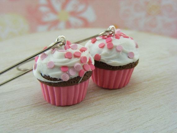 Pink Polka Dot Cupcake Earrings