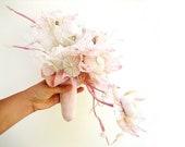 Beach Bridal Bouquet - Sea urchins Shells Lace Beach Wedding