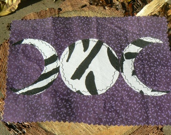 Lavender Black and White Triple Moon Goddess Patch