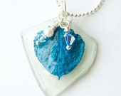 Royal Blue Aspen Leaf Recycled Glass Necklace, Gifts under 20, Seaglass, Swarovski Crystal