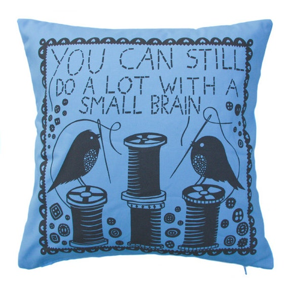 You Can Still Do A Lot With A Small Brain Cushion Cover (Blue/Grey)