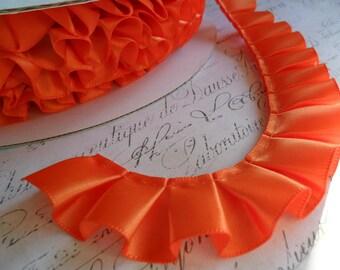 Orange Satin Box Pleat  Ruffle 7/8 wide ribbon trim