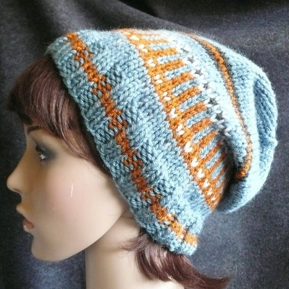 Hand Knitted Fair Isle Slouch Beanie - Antique Blue, Rust, Ice Blue and Charcoal