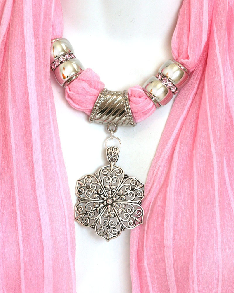 Pendant Scarves Jewelry Pastel Pink Scarves With Pendants Scarf Jewels Scarves With Jewelry On Them