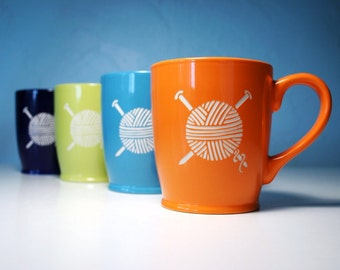 Knitting Yarn Mug - needles coffee cup for a knitter - Choose Your Color