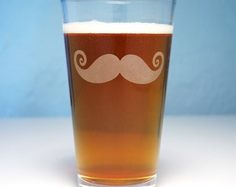 Mustache Pint Glass