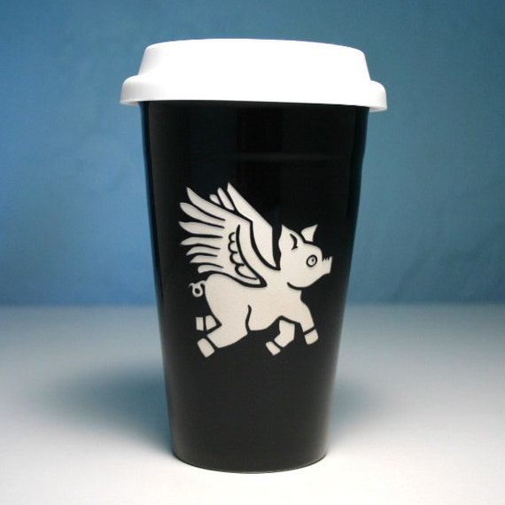 Flying Pig BLACK ceramic to-go cup - when pigs fly - insulated travel mug