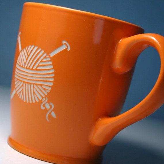 Yarn Mug - Tangerine Orange - knitting needles coffee cup for a knitter