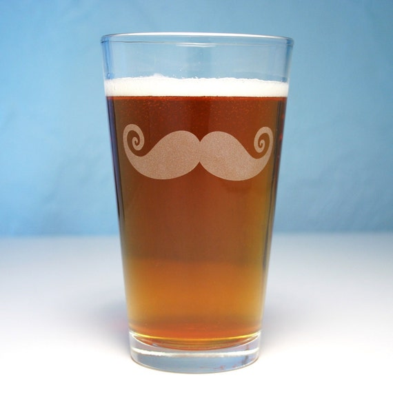 SALE - Mustache Pint Glass - etched 16oz beer glass