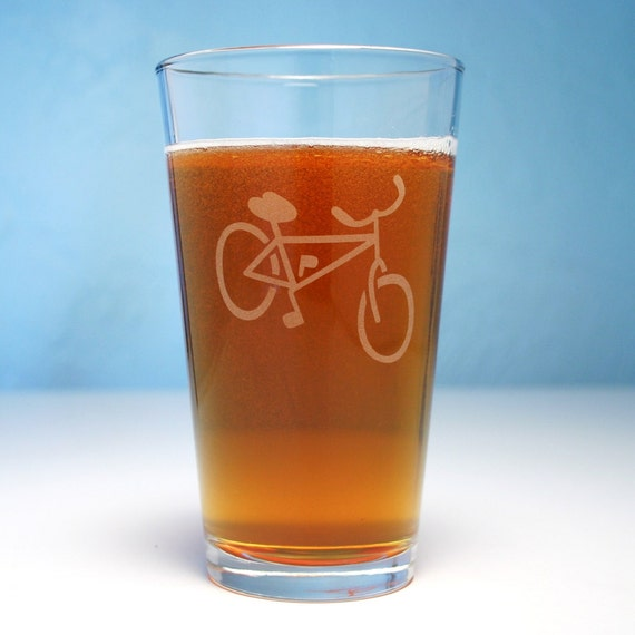 Bicycle Pint Glass - etched bike beer cup