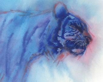Blue Tiger Art Print, Abstract Art, Tiger Watercolor Print, Animal Watercolor Painting, Colorful Watercolor, Artwork Print 8.5 by 11