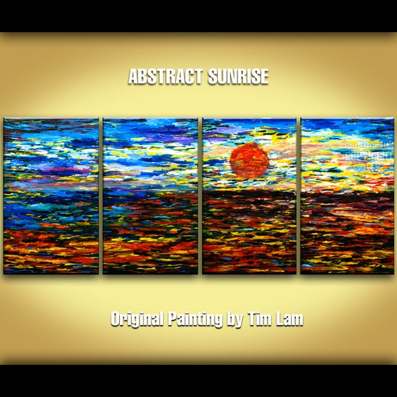Abstract Painting Large 4 panel Sea art, Ocean Sunrise impressionist Landscape Painting Acrylic Painting by tim lam 72x30