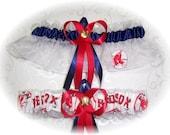 Boston Red Sox Wedding Garter Set    Handmade  Keepsake and Toss    Navy