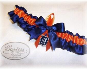 Detroit Tigers Wedding Garter with charm   Handmade  Toss Tossing Satin NO